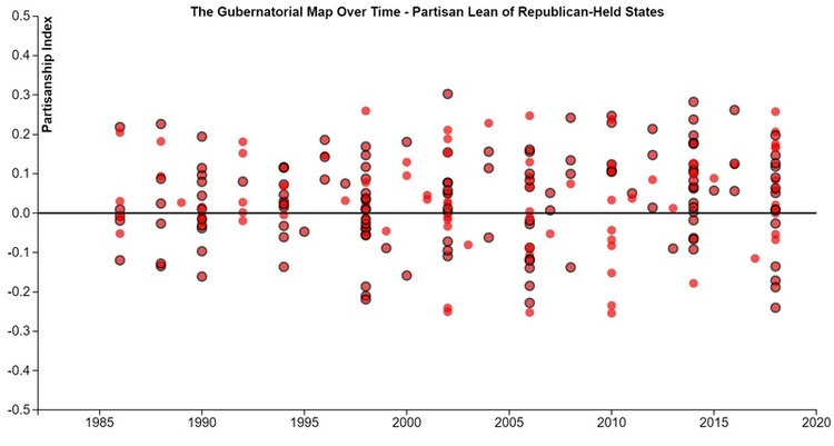 Sizing Up The Gubernatorial Map RealClearPolitics - 2008 us governors map graphic