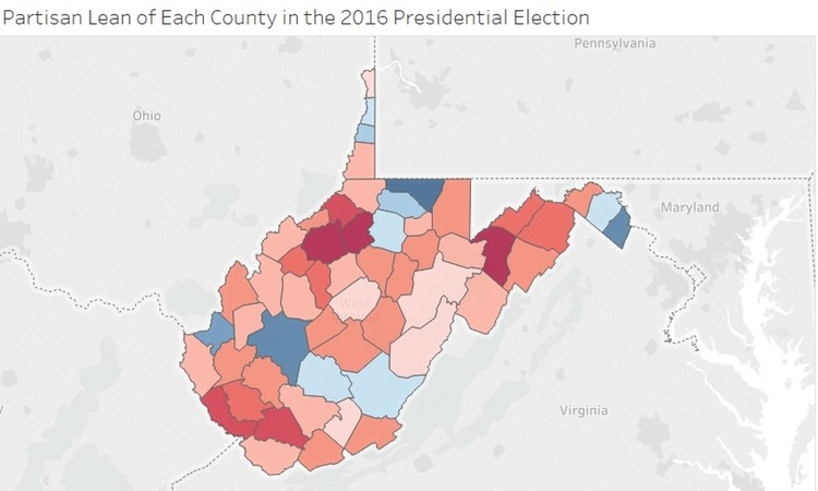 This Shows Hillary Clinton S Share Of The Vote Adjusted For The Popular Vote Last November Clinton Performed Best In The State S Population Centers