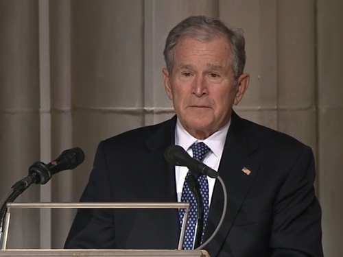 George W Bush Eulogizes Father At George H W Bush State Funeral