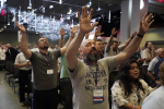 People take part in a worship service during the annual Southern Baptist Convention meeting Tuesday, June 15, 2021, in Nashville, Tenn. (AP Photo/Mark Humphrey)